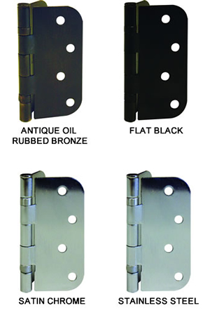 GlassCraft Hinges Finish Options