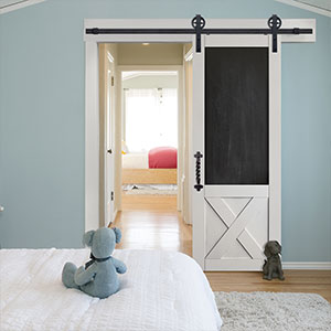 Model: MDF 3/4 Panel Blackboard with Crossbuck Barn Door