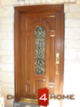Mahogany entry door with decorative beveled glass