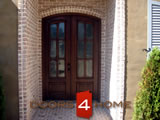 MARFL6-2 Eyebrow Raduis 6-Lite Mahogany French Door with Panel Bottom